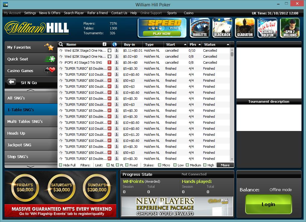william hill poker rakeback