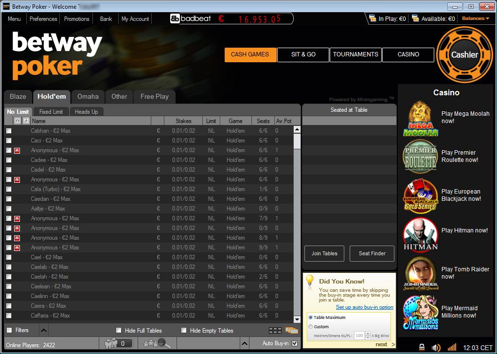 Betway poker charlie bear roulette