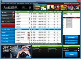 Gala Poker Cash Lobby