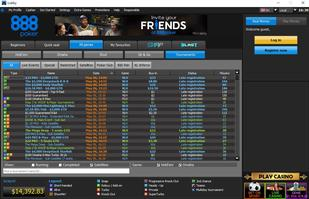 888Poker Tournament Lobby